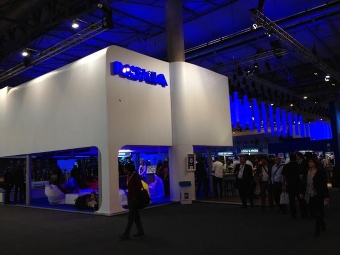 Nokia & Samsung competes for the hugest booth award I guess..