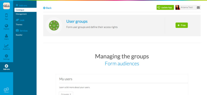 "Empower the social features of your app adding the new ""User Group"" Add-On"
